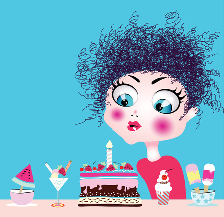 funny baby: Little girl blowing birthday cake candle. Vector illustration