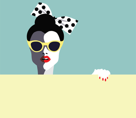 Beautiful young woman with sunglasses, retro style. Pop art.