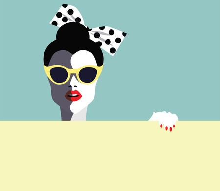 Mooie jonge vrouw met zonnebril, retro stijl. Pop art.