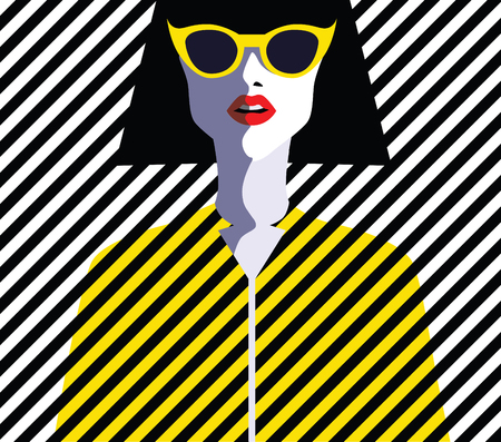 Woman fashion with sunglasses. Retro vintage illustration, pop art, vector eps 10