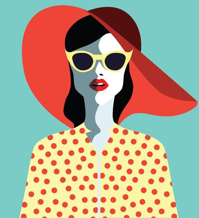 burlesque: Beautiful young woman with sunglasses and hat, retro style. Pop art. Summer holiday.