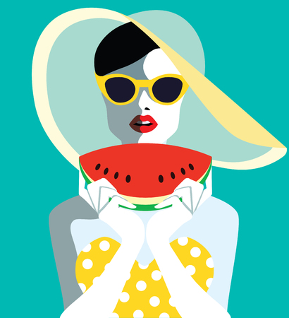 Beautiful young woman with sunglasses and watermelon, retro style. Pop art. Summer holiday. Vector eps10 illustration Illustration