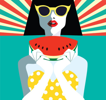 Beautiful young woman with sunglasses and watermelon, retro style. Pop art. Summer holiday.