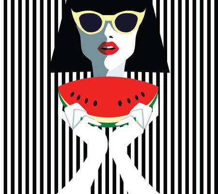 Hermosa mujer joven con gafas de sol y sandía, estilo retro. Arte pop. Vacaciones de verano. Foto de archivo - 80165566