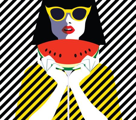 Mooie jonge vrouw met zonnebril en watermeloen, retro stijl. Pop art. Zomervakantie. Vector eps10 illustratie