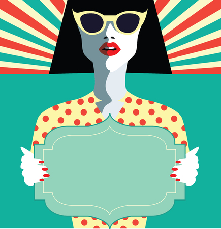 old notebook: Woman fashion with sunglasses. Retro vintage illustration, pop art, vector eps 10