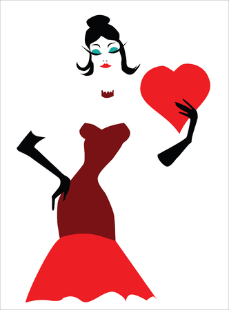 fashion illustration of a stylish woman holding a red Valentine heart