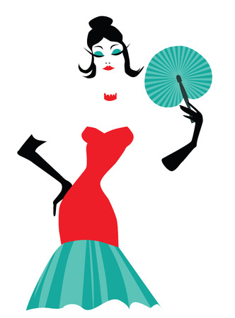 fashion illustration of a stylish woman holding a fan