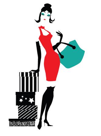 Mujer elegante con regalos Ilustración de vector