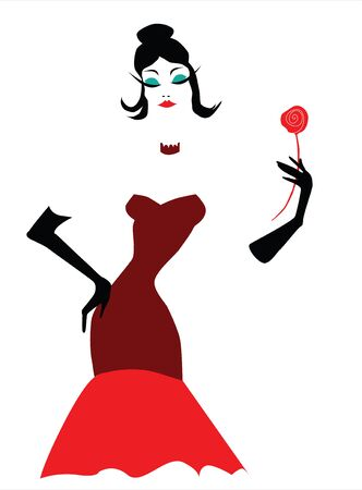 fashion illustration of a stylish woman holding a red rose