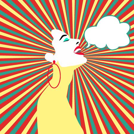 Pop-art verrast vrouw gezicht met open mond. Grappige vrouw met tekstballon. Vector illustratie. Vectorillustratie
