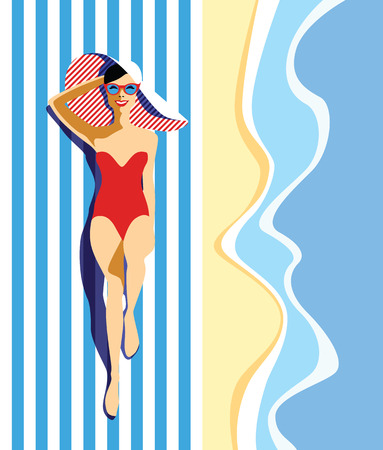 Beautiful young woman with sunglasses, hat at the beach, retro style. Pop art. Summer holiday. Ilustração
