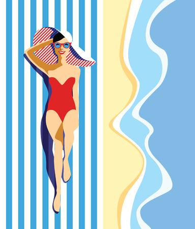 Hermosa mujer joven con gafas de sol, sombrero en la playa, estilo retro. Arte pop. Vacaciones de verano. Ilustración de vector