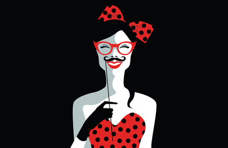 Beautiful young woman with sunglasses, retro style holding funny mustache on stick. Joyful young girl ready for party. Pop art. Vector eps10 illustration Vettoriali