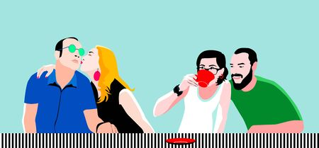 Group of friends chatting  and having fun in cafe, restaurant. Friendship Dining People Concept. Vector illustration