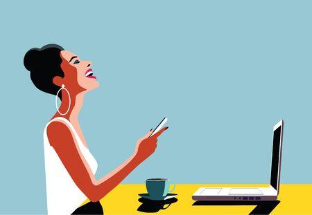 행복 한 젊은 아름 다운 여자 스마트 폰 및 노트북, 실내를 사용합니다. 레트로 빈티지 그림, 팝 아트, 벡터 일러스트 레이 션.