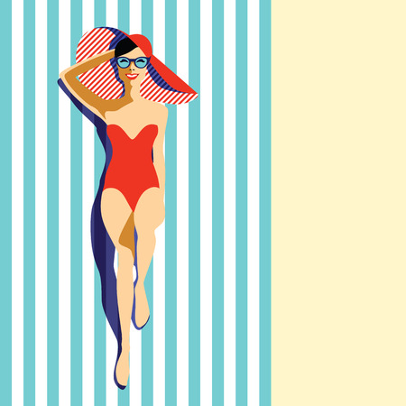 Beautiful young woman tanning in the pool, with sunglasses, hat, retro style. Pop art. Summer holiday.