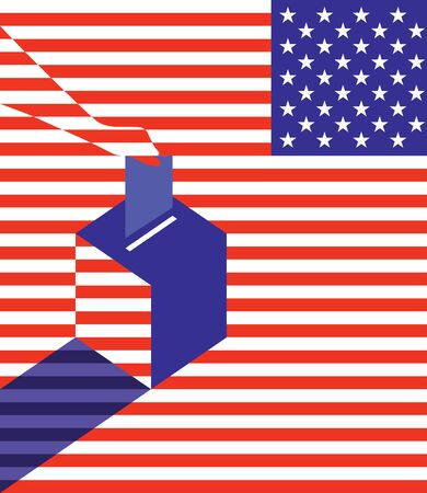 elect: Voting concept. Hand putting vote in the ballot box over USA flag. Abstract vector illustration
