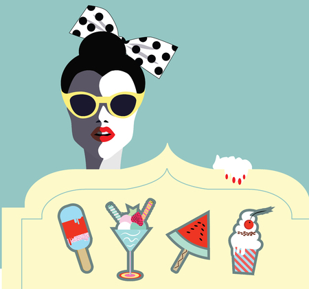 glases: Happy woman with cupcakes, ice cream, fruits .Wedding, anniversary, birthday, Valentins day, party invitation concept. Vector