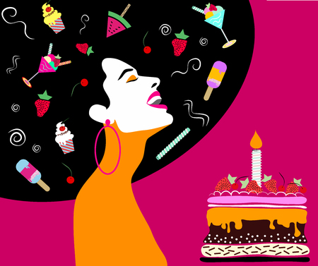 Happy woman laughing, with cake, cupcakes, ice cream, fruits .Wedding, anniversary, birthday, Valentin's day, party invitation concept. Vector