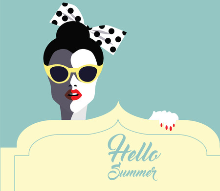 glamorous: Beautiful young woman with sunglasses and hat, retro style. Pop art. Summer holiday. Vector eps10 illustration