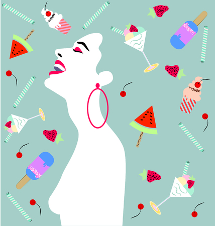 Happy woman laughing, with cake, cupcakes, ice cream, fruits .Wedding, anniversary, birthday, Valentin's day, party invitation concept.