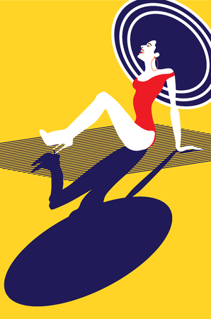Beautiful woman sunbathing on the beach. Happy woman laughing and looking up. Travel concept. Retro style, Pop art. Vector eps10 illustration