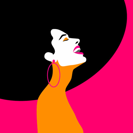 Beauty woman portrait. Happy woman laughing and looking up.  Retro style, Pop art. Vector eps10 illustration Illustration
