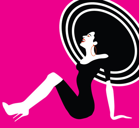 Schönheit Frau Porträt. Glückliche Frau lachend und sitzt Retro-Stil, Pop-Art. Vektor eps10 Abbildung