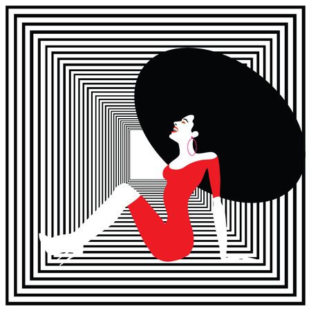Beauty woman portrait. Happy woman laughing and sitting down.  Retro style, Pop art. Vector eps10 illustration