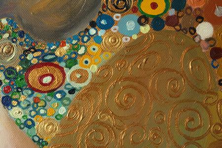 Textuur, achtergrond en kleurrijke afbeelding van een originele abstracte schilderkunst samenstelling, olie op canvas