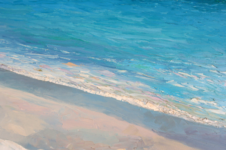 sunbath: Original painting, artwork, oil on canvas, natural beach in Greece