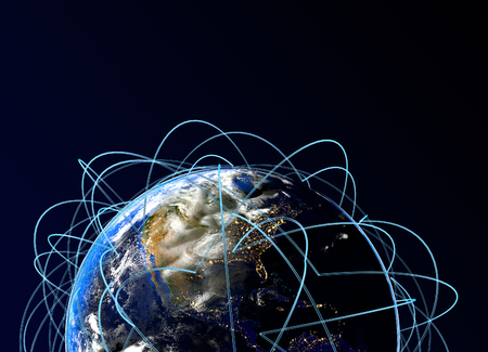 Internet Concept of global business. Main air routes in America. 3d render.