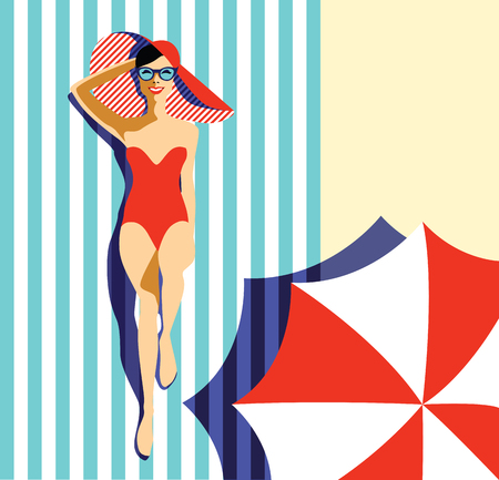 Beautiful young woman tanning in the pool, with sunglasses, hat, retro style. Pop art. Summer holiday. Vector eps10 illustration Ilustração