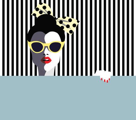 サングラス、レトロなスタイルと美しい若い女性。ポップアート。ベクトル eps10 図