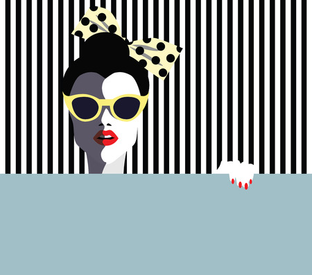 Beautiful young woman with sunglasses, retro style. Pop art. Vector eps10 illustration Фото со стока - 79982179