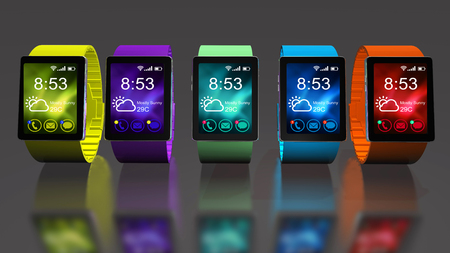Smart watch isolated on white background. Creative business mobility and modern mobile wearable device technology concept. Color digital smart watch with colorful screen interface. 3D render Banco de Imagens