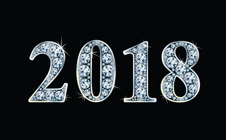 Text design from diamonds, concept for new year 2018. Vector illustration.