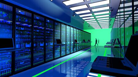 Creative business web telecommunication, internet technology connection, cloud computing and networking connectivity concept: terminal monitor in server room with server racks in datacenter.3d render