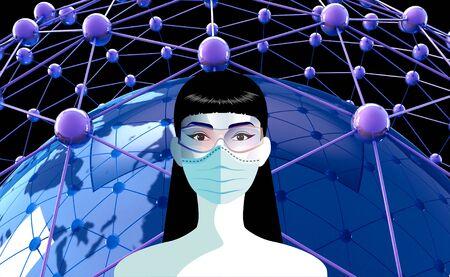 Woman with medical face mask. Concept of coronavirus quarantine in Europe. Banco de Imagens