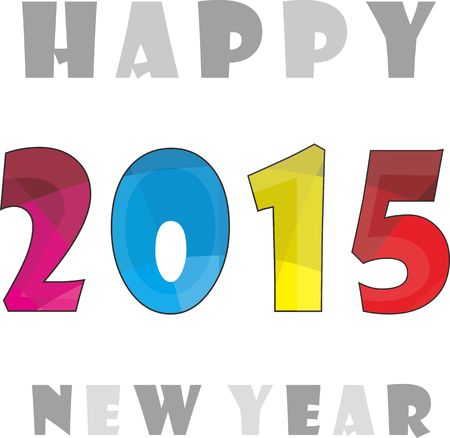 colorfull: Simple Colorfull Happy New Year 2015 Clipart Illustration
