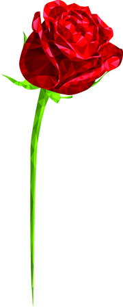 triangle shape: Beautiful Red Rose Flower in Flat Triangle Shape Illustration