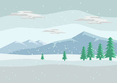 Beautiful Snow Scenery and Mountain Background Illustration