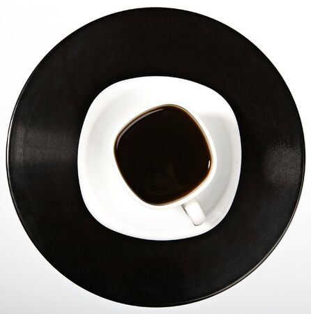 Coffee being on a vinyl record