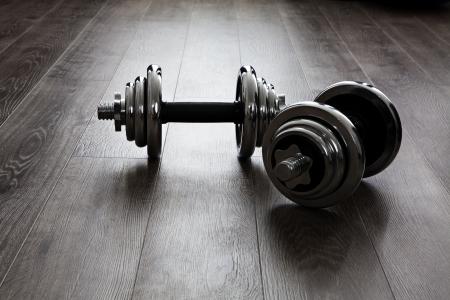 fitness: dos pesas para la aptitud Foto de archivo
