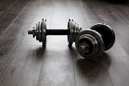 two dumbbells for fitness Stock Photo