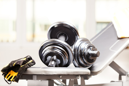 fitness accessories: dumbbells, bench