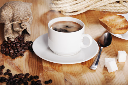 austere: austere morning breakfast: hot coffee with toast Stock Photo
