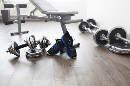 gyms: fitness center with equipment Stock Photo
