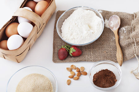 baking ingredients: ingredients for cake on the table